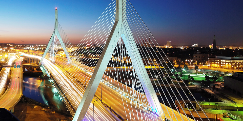 Leonard P. Zakim Bunker Hill Memorial Bridge crosses the Charles River from Downtown Boston.